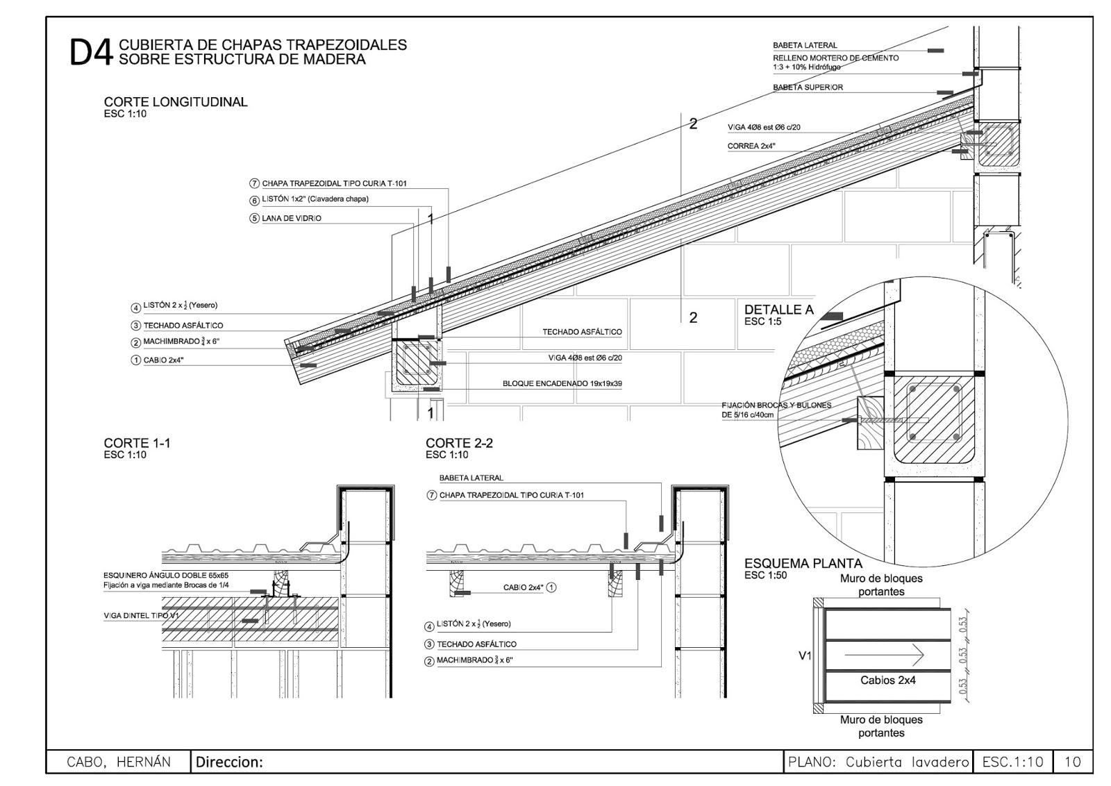 Detalles constructivos cad - Detalle constructivo techo ...