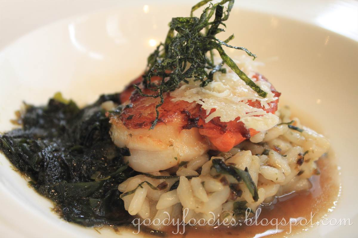 Seaweed Risotto with King Scallop and Parmesan Cheese Tuile