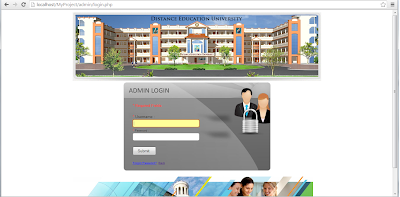 online admission project admin login page