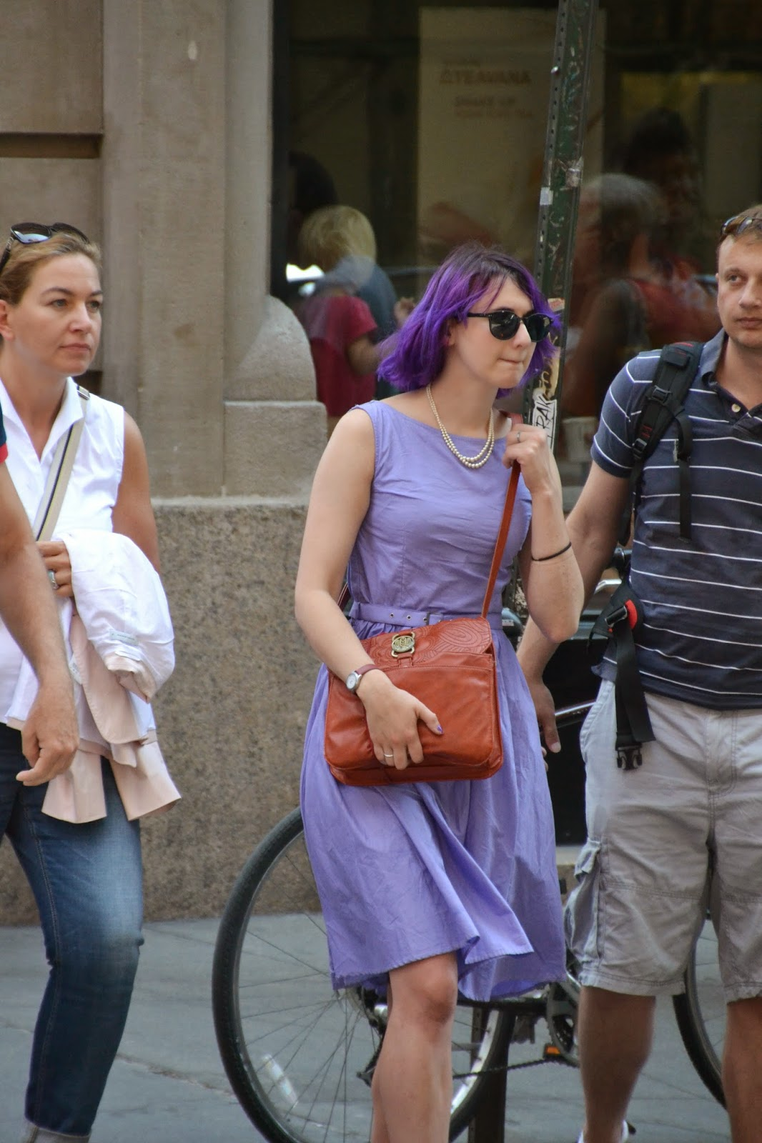 nyc street style purple dress and purple hair