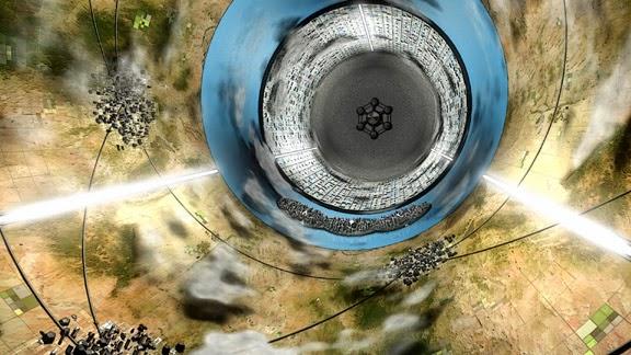 """Ein hohler Zylinder, an dessen Wänden Strukturen und ein zylindrischer See sind. Jenseits des Sees ein weiterer """"Kontinent"""", mit einer sechseckigen Struktur an der Nabenfläche des Zylinders."""