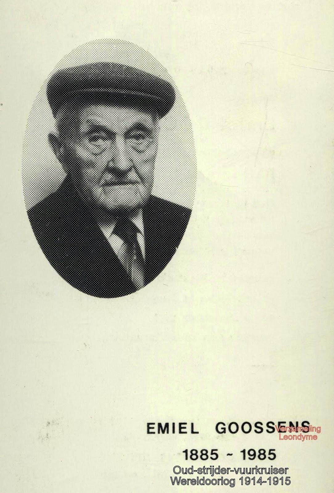 Bidprentje, Emiel Goossens 1885-1985. Verzameling Leondyme.