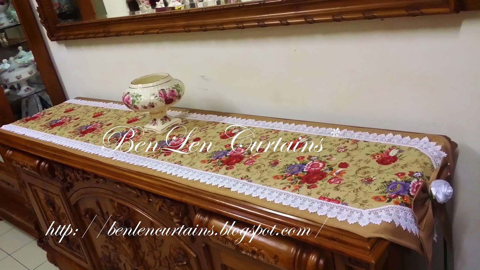 Benlen Curtains Coffee Table Runner With Ribbon Roses