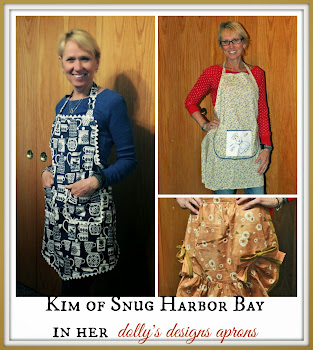 KIM IN HER dolly's designs aprons!