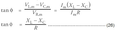 sudut fase antara tegangan dan arus listrik rangkaian seri RLC