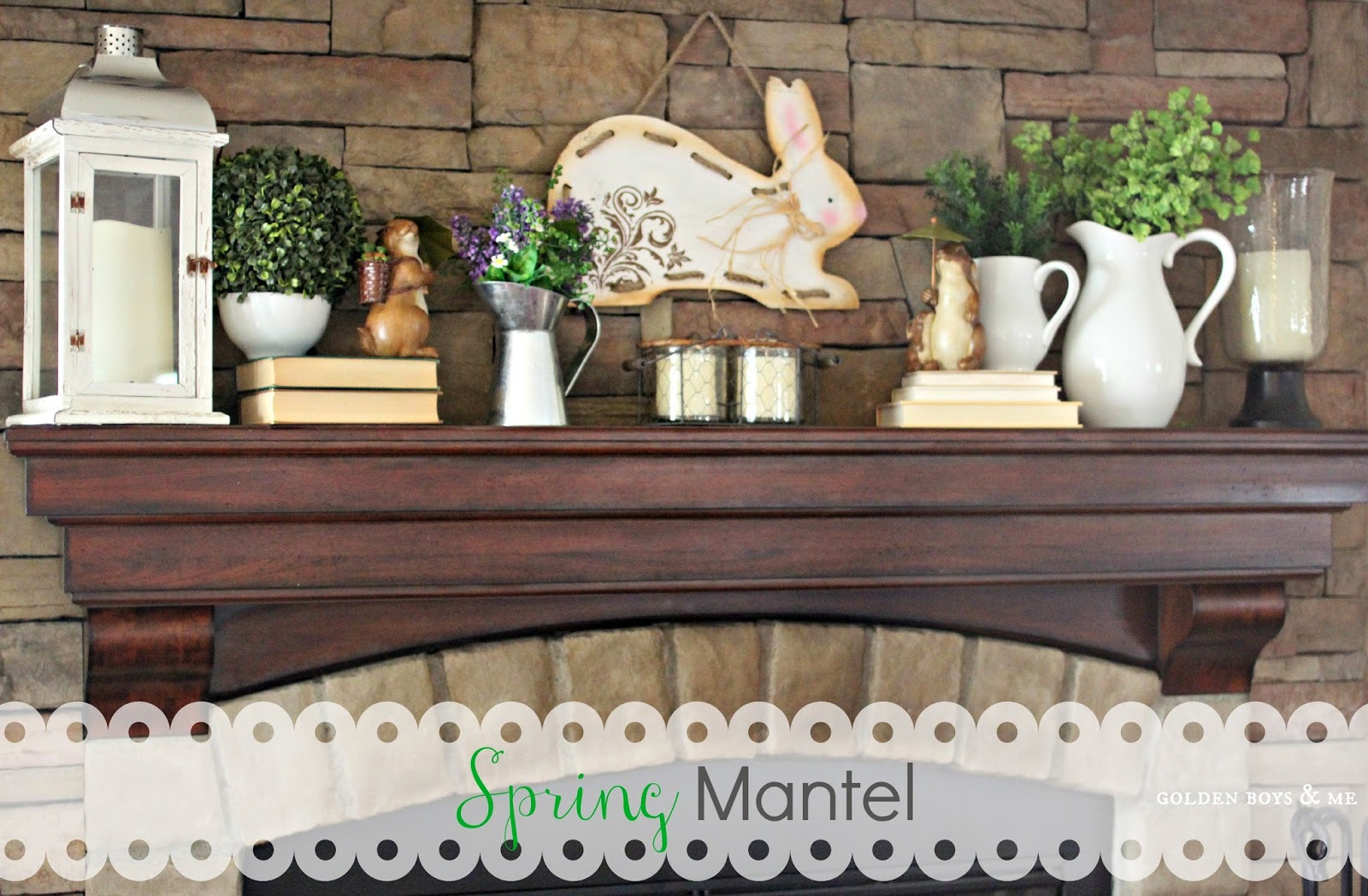 spring mantel stone fireplace with rabbit sign and white pitchers-www.goldenboysandme.com