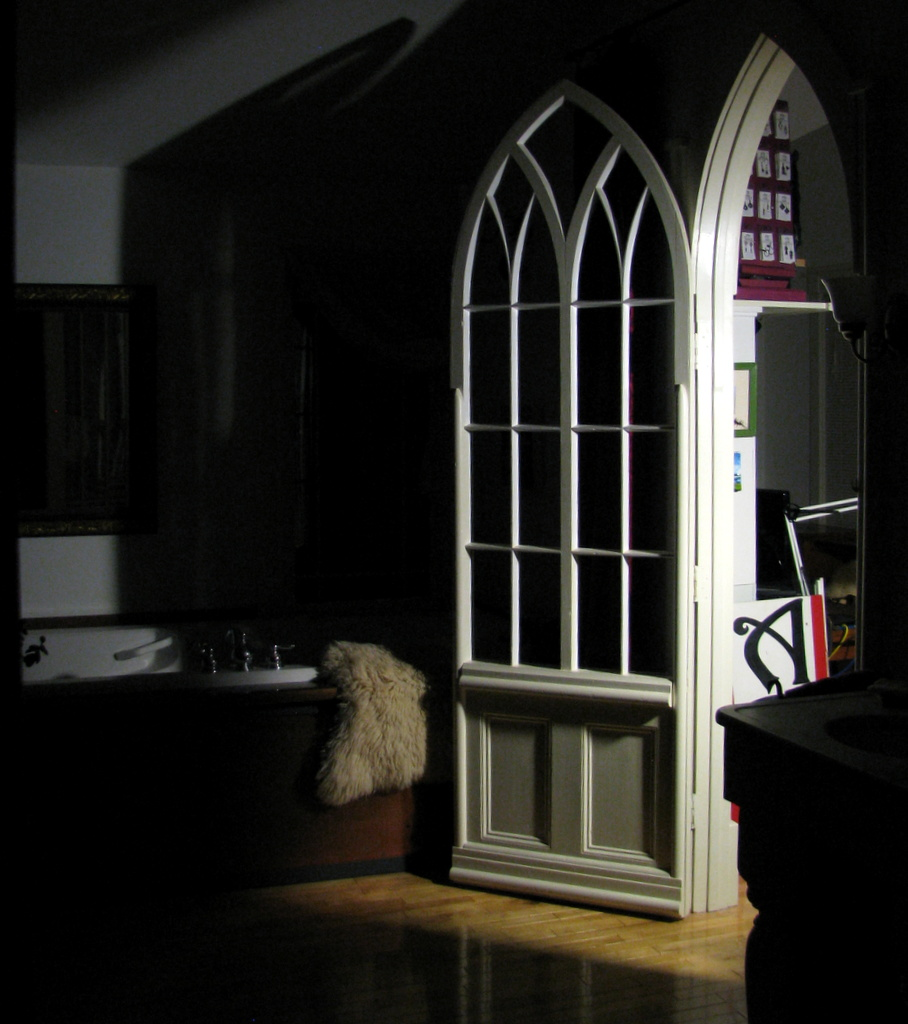 Romantic 8' handmade Door to Art Studio that John created from a church window