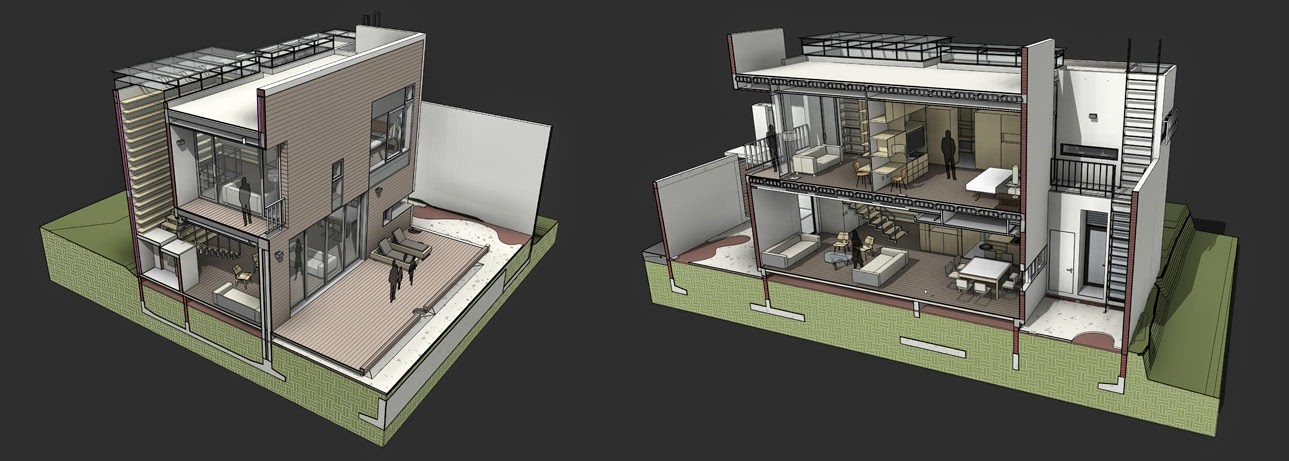 Plano de casas modernas plano de casa pareada de piso for Planos de casas modernas