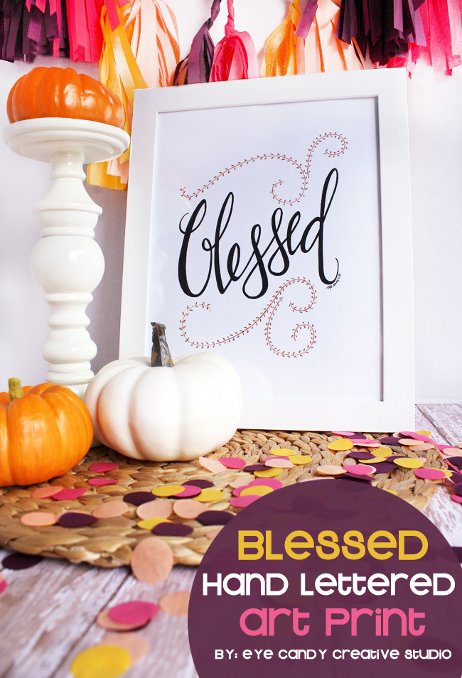 blessed, thanksgiving, give thanks, confetti, hand lettering, framed art