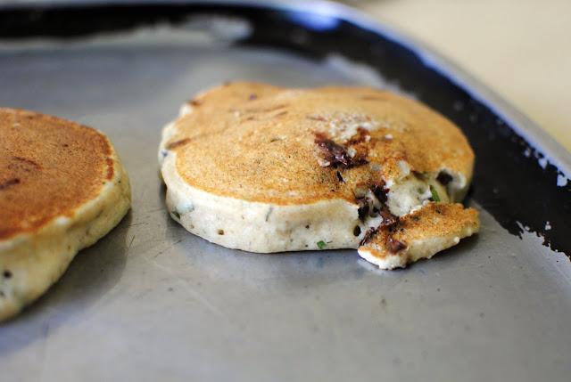Basil Chocolate Chip Ricotta Pancakes l SimplyScratch.com