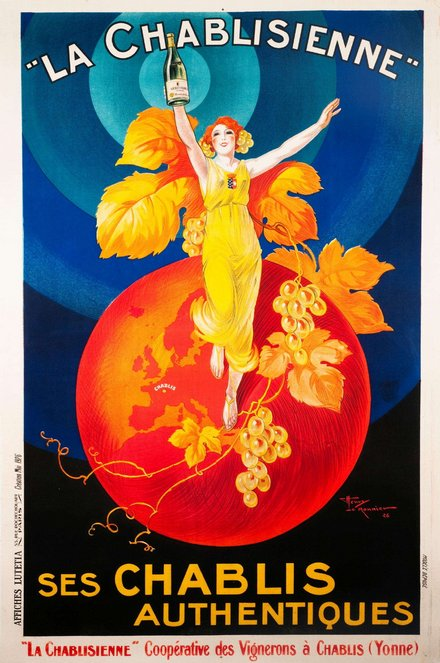 printables, advertising, classic posters, food, free download, french poster, graphic design, retro prints, vintage, vintage posters, La Chablisienne, Ses Chablis Authentiques - Vintage French Advertising Poster