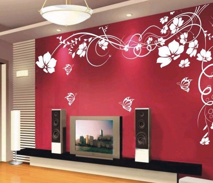 It 39 s a women 39 s world wall decals for Red wallpaper designs for living room