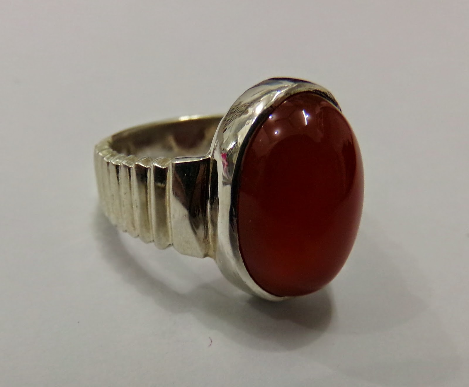 Silver Ring With Red Carnelian