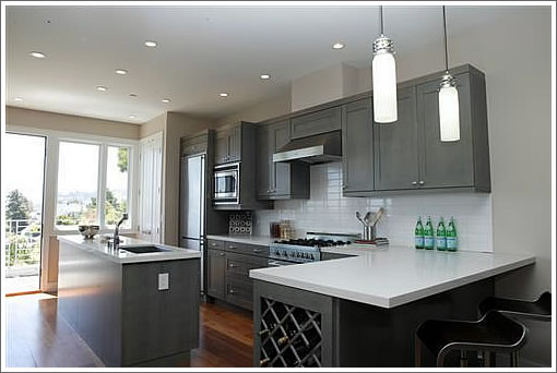 Grey Kitchen Cabinets with Gray Walls 510 x 342