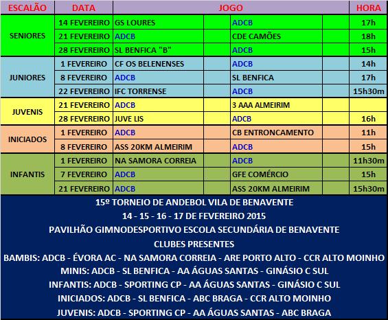 AGENDA - JOGOS OFICIAIS - FEVEREIRO 2015