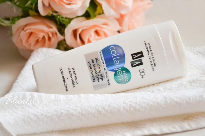 płyn do zmywania makijażu, płyn micelarny, płyn z kolagenem i kwasem hialuronowym, przeciwzmarszczkowy płyn micelarny, do demakijażu, zmywanie makijażu, pielęgnacja twarzy, do cery wrażliwej, bez parabenów,