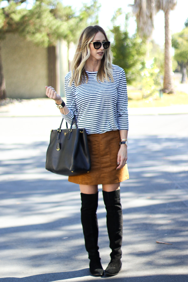 brown suede skirt striped top