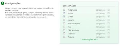 Configurações do formulário