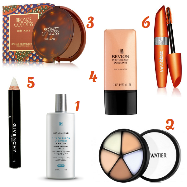 Estee Lauder Bronze Goddess bronzer palette, Revlon PhotoReady Skinlights, Cover Girl LashBlast Volume mascara, SkinCeuticals Physical Fusion UV Defense SPF 50, Lise Watier Portfolio Professional Correctors, Givenchy Mister Eyebrow Fixing Pencil