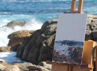 plein air seascape oil painting by andy dolphin on location