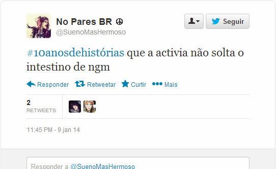 Tweet @SuenoMasHermoso - Campanha Activia 10 anos de histórias