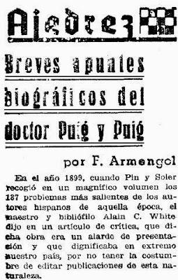 Detalle del primer párrafo del artículo de Armengol sobre el doctor Esteve Puig i Puig