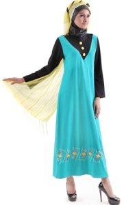 Naf1ah Gamis N55 - Toska Hitam (Toko Jilbab dan Busana Muslimah Terbaru)