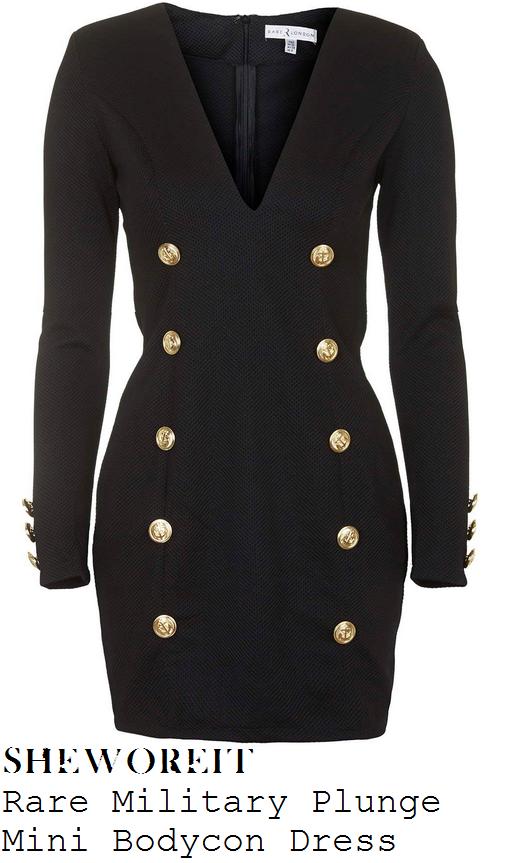 chloe-sims-black-plunge-front-gold-button-mini-dress