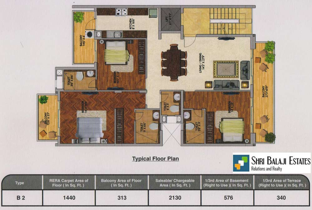 Floor Plan  (  3BHK - B2  )