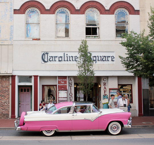 Vintage pink and white car on Caroline Street in Fredericksburg, VA