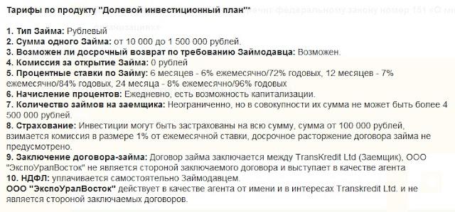 Долевой инвестиционный план, TransKredit, ЭкспоУралВосток