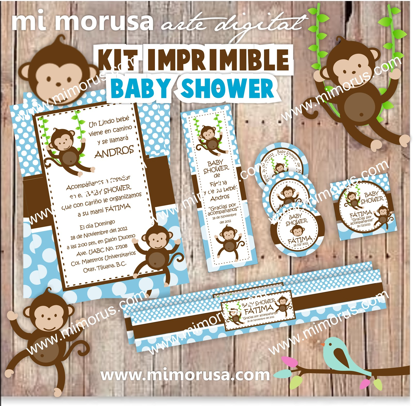mi morusa arte digital kit imprimible baby shower changuitos. Black Bedroom Furniture Sets. Home Design Ideas