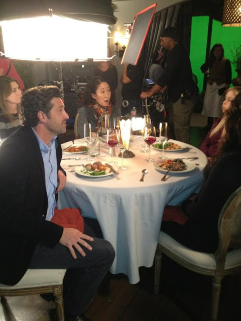 sandra oh, patrick dempsey, ellen pompeo behind the scenes of grey anatomy