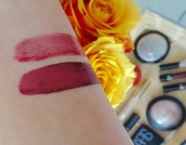 Sephora Collection Oil infusion and lip care in fresh berries swatch, Sephora Collection cream lip satin in blackberry sorbet swatch