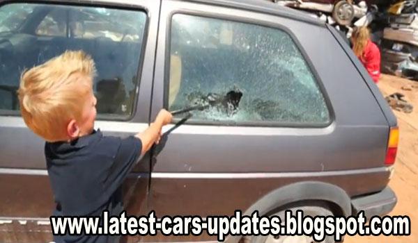 Kids destroying car