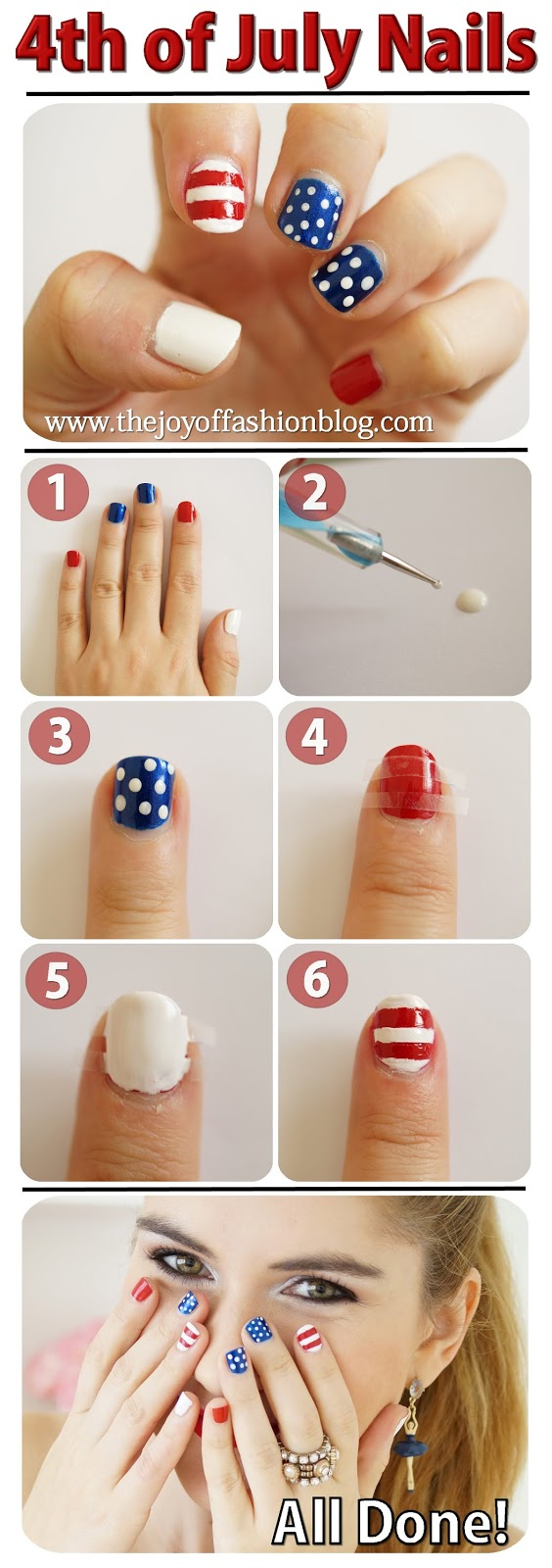 The Joy of Fashion: {Beauty}: 4th of July Nails Tutorial