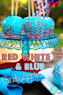 Red, White, and Blue Candy Apples by Tidy Mom.