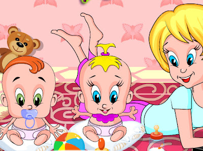 Juego de cuidar a los bebes gemelos