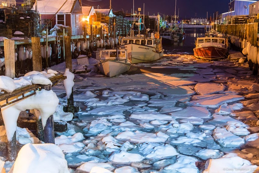 Portland, Maine February 2015 Widgery Wharf at night with ice photo by Corey Templeton