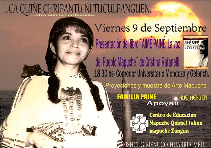 Afiche de la presentación del libro AIME PAINE la voz del pueblo Mapuche