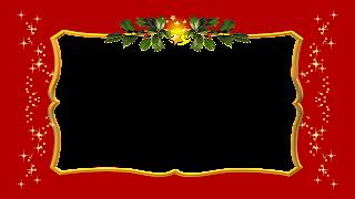 Moldura red e gold com azevinho e estrelas png