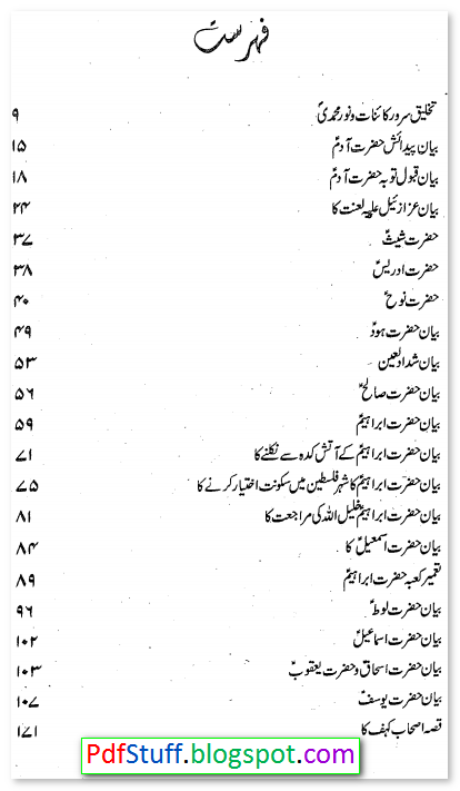 Contents of the Urdu book Qasas ul Anbiya