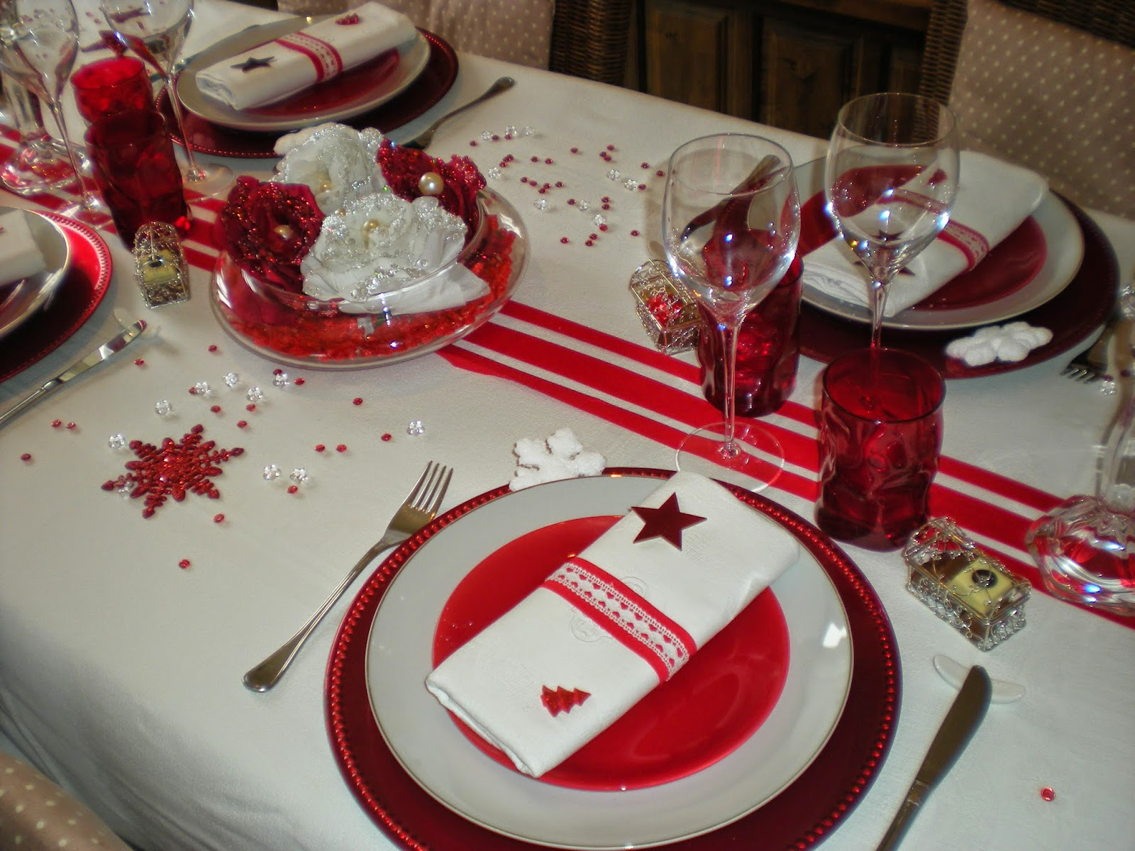 Mon no l en rouge et blanc d co de table th mes for Decoration de noel rouge et blanc