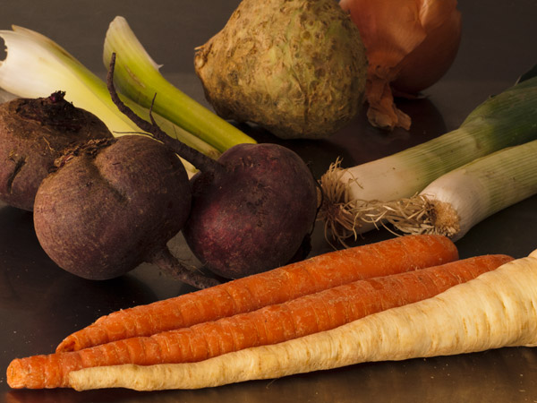 Ingredients for barszcz / borscht: beets, leeks, celery, celery root, onion, parsnip, carrots