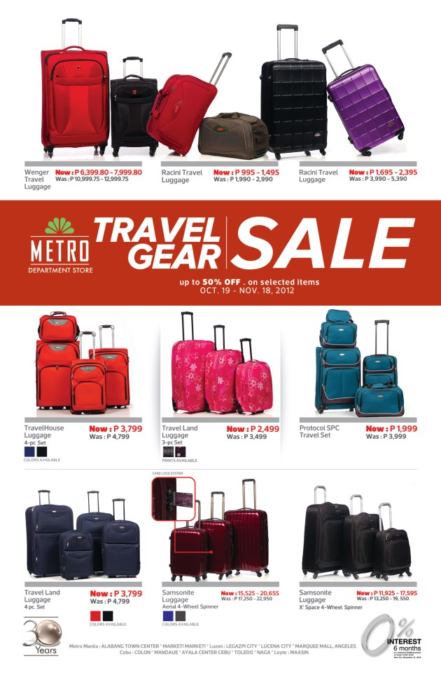 Manila Shopper: Metro Travel Gear/Luggage SALE: Oct - Nov 2012