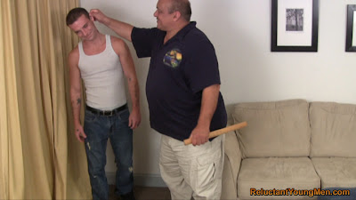 Young man spanking