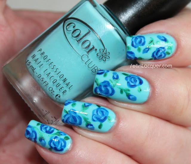 Blue roses nail art
