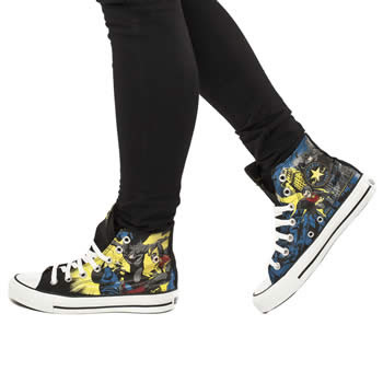 04078b40a1cf ... DC Comic Converse All Star Hi. A fabric upper features the two comic  characters printed in dramatic action and is finished with the brands  iconic rubber ...