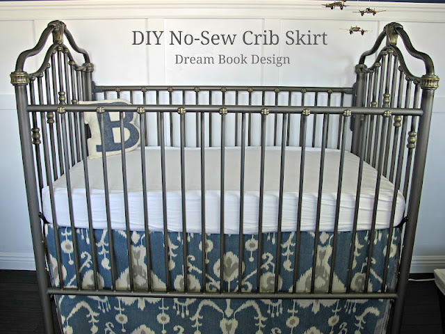 DIY no sew crib skirt by Dream Book Design #cribskirt #DIY #nosew