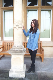 Clevedon Hall OOTD Timberland Boots Select Denim Shirt Jack Wills Wolford Velvet Forming Leggings